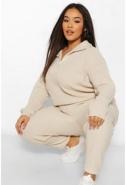 Stone beige Plus Polo Met Rits En Joggingbroek Lounge Set