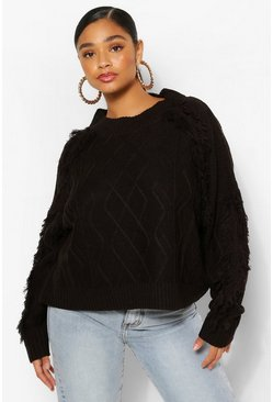 Black Plus Tassel Cable Chunky Jumper