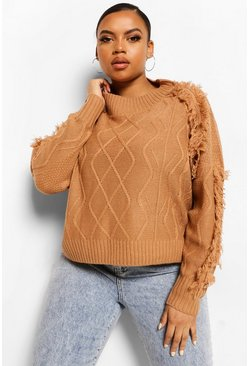 Tan brown Plus Tassel Cable Chunky Jumper