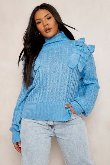 Bright blue blue Plus Ruffle Cable Knitted Jumper