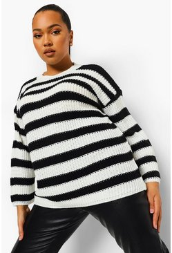 Black Plus Oversized Stripe Jumper