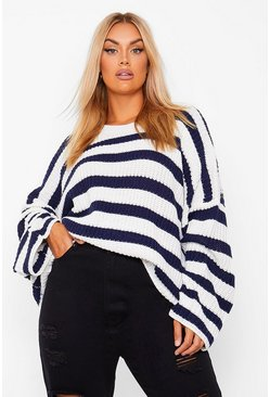 Navy Plus Oversized Stripe Jumper