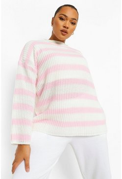Plus Pullover oversize a righe, Rosa
