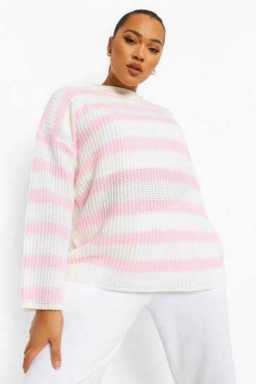 Pink Plus Oversized Stripe Jumper