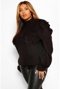 Black Plus Ruffle Cable Knitted Jumper