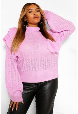 Bright lilac purple Plus Ruffle Cable Knitted Jumper