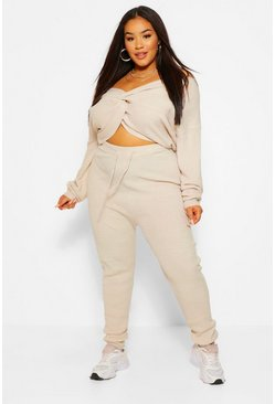 Stone beige Plus Twist Jumper And Jogger Lounge Set