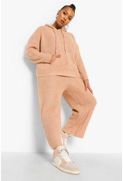 Rose pink Plus Knitted Pocket Sweater & Jogger Lounge Set