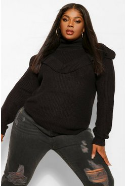 Black Plus Ruffle Round Neck Jumper