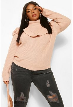 Rose pink Plus Ruffle Round Neck Jumper