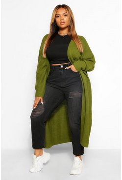 Khaki Plus Batwing Oversized Cardigan