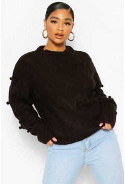 Black Plus Pom Pom Detail Jumper