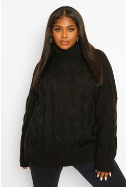 Black Plus Cable Roll Neck Oversized Jumper