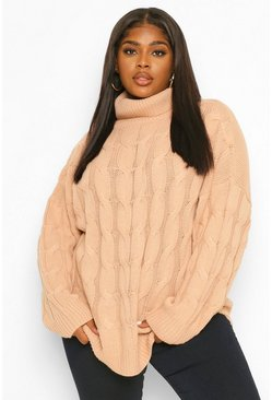 Rose pink Plus Cable Roll Neck Oversized Jumper
