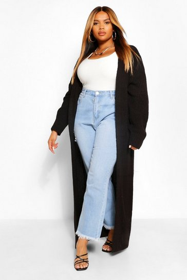 Black Plus Oversized Raw Hem Cocoon Cardigan