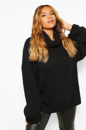 Black Plus Chunky Roll Neck Oversized Jumper