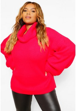 Red Plus Chunky Roll Neck Oversized Jumper