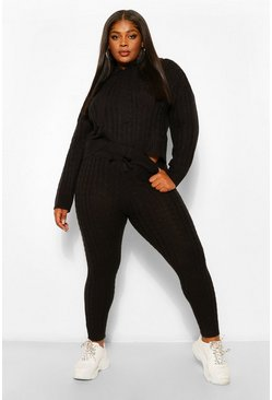 Black Plus Cable Knit Hoody & Jogger Lounge Set