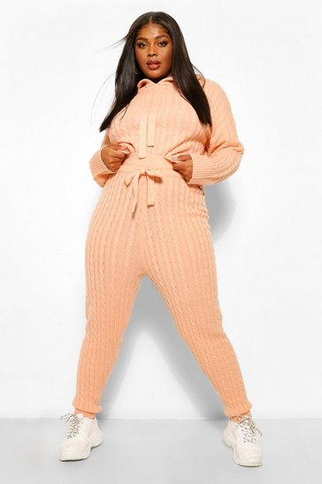 Peach orange Orange Plus Cable Knit Hoody & Jogger Lounge Set