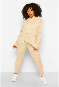 Stone beige Plus Cable Knit Hoody & Jogger Lounge Set