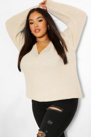 Oatmeal beige Plus Oversized V Neck Jumper