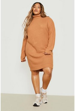 Taupe beige Plus Roll Neck Jumper Dress