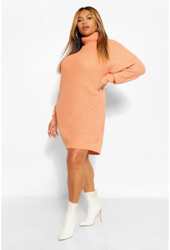 Apricot nude Plus Roll Neck Jumper Dress