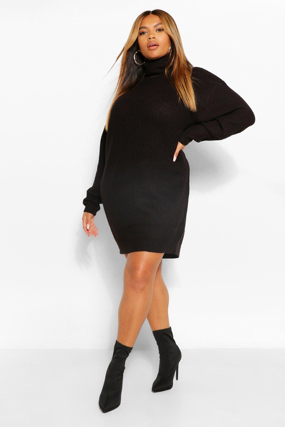 Plus Roll Neck Jumper Dress 16