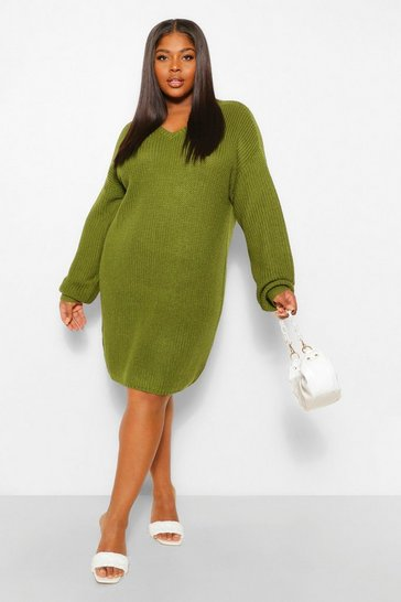 Khaki Plus Rib V Neck Jumper Dress