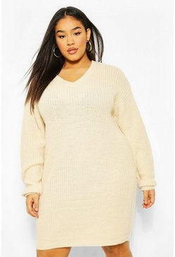 Stone beige Plus Rib V Neck Jumper Dress