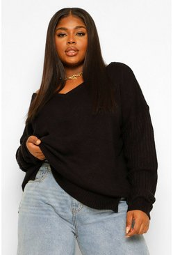 Black Plus Jumper V Neck Detail Front And Back