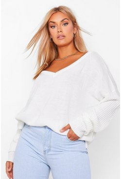 Ivory white Plus Jumper V Neck Detail Front And Back