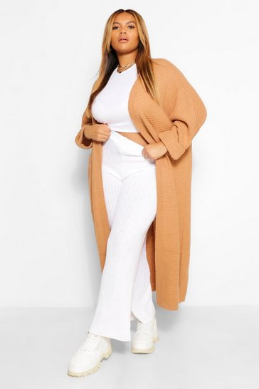 Tan brown Plus Cocoon Oversized Rib Knit Cardigan