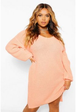 Apricot nude Plus V Neck Jumper Mini Dress