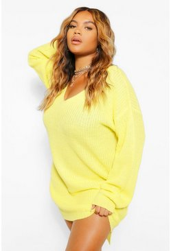 Lime green Plus V Neck Sweater Mini Dress