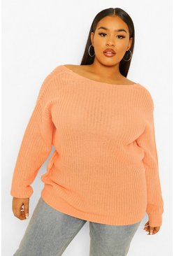 Apricot nude Plus V back Oversized Jumper