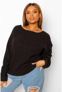 Black Plus V back Oversized Jumper