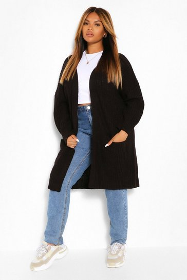 Black Plus Boyfriend Knitted Cardigan