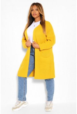 Mosterd yellow Plus Gebreide Boyfriend Cardigan