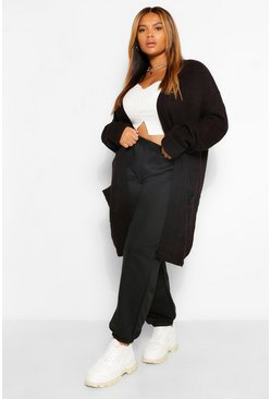 Black svart Plus Chunky Oversized Cardigan