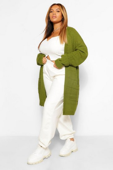 Khaki Plus Chunky Oversized Cardigan