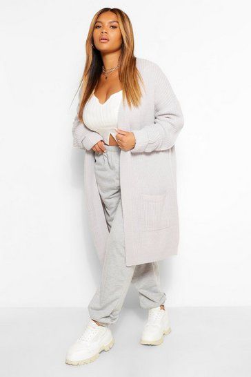 Silver grey grey Plus Chunky Oversized Cardigan