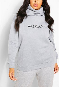 Grey Plus Slogan Hoodie With Snood