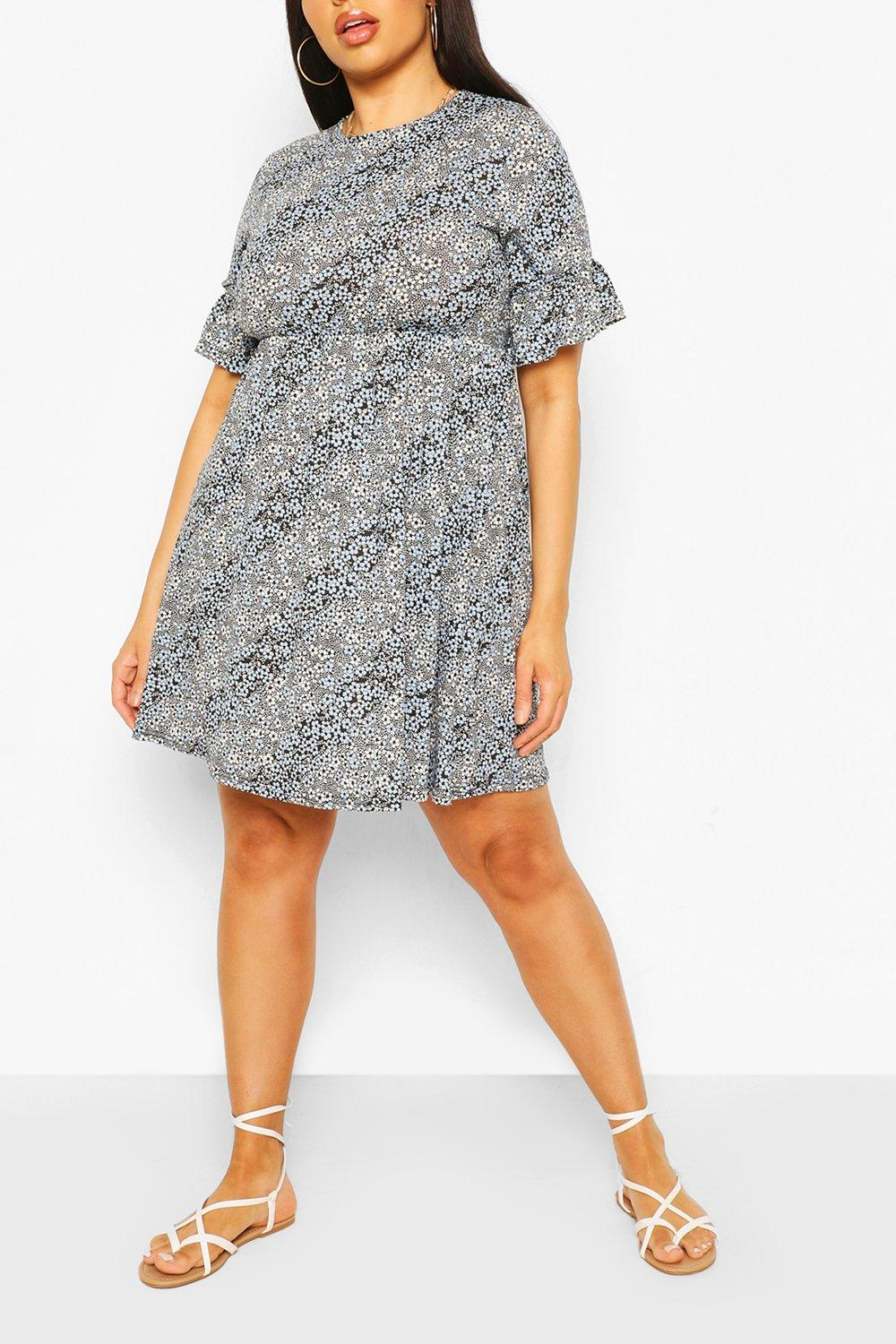 Plus Mixed Floral Ruffle Sleeve Smock Dress 6