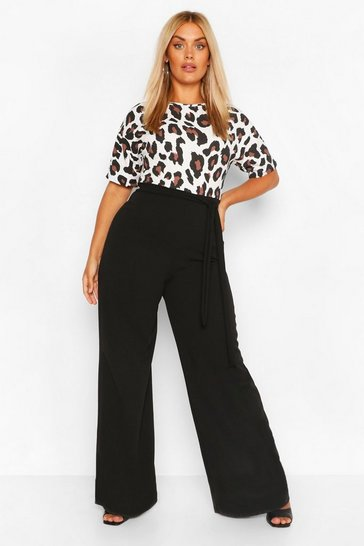 Black Plus Leopard Contrast Belted Jumpsuit