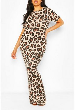 Brown Plus Leopard Print Cap Sleeve Maxi Dress