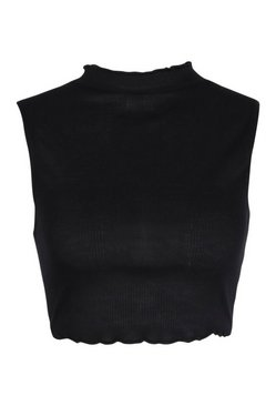 Black Petite Rib Lettuce Hem Crop Top