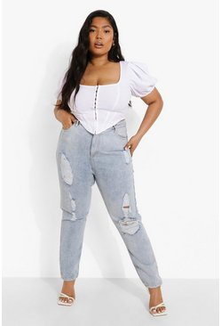 Light brown Plus Versleten Acid Wash Gebleekte High Rise Mom Jeans