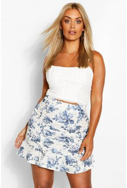 Cream Plus Woven Floral Print Ruched Mini Skirt