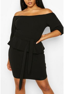 Black Plus Peplum Off The Shoulder Midi Dress